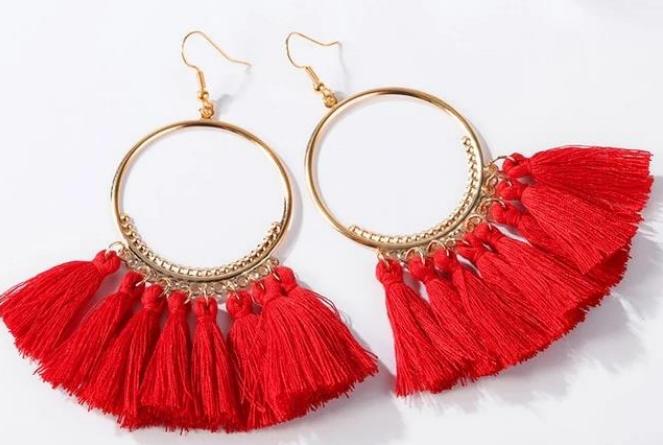 Triangle Bohemian Tassel Earrings portfolio image